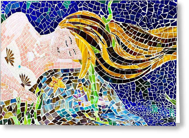 Undersea Photography Greeting Cards - Mosaic Mermaid Greeting Card by Colleen Kammerer