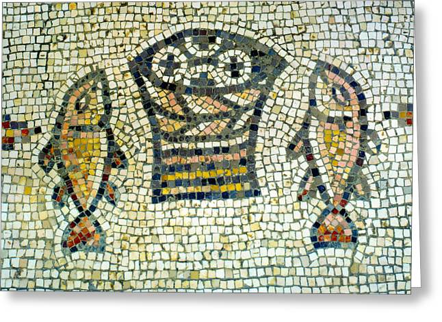 Parable Photographs Greeting Cards - Mosaic of Loaves and Fishes Greeting Card by Daniel Blatt