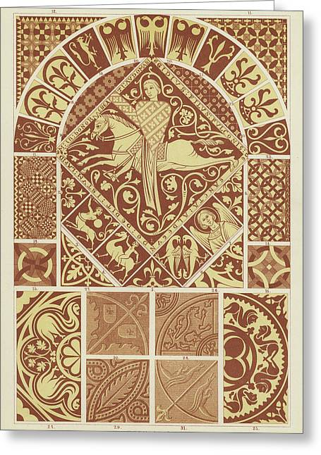 Mosaic Patterns From The Middle Ages Greeting Card by German School