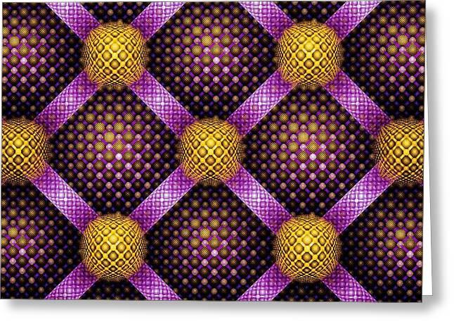 Mosaic - Purple And Yellow Greeting Card by Anastasiya Malakhova