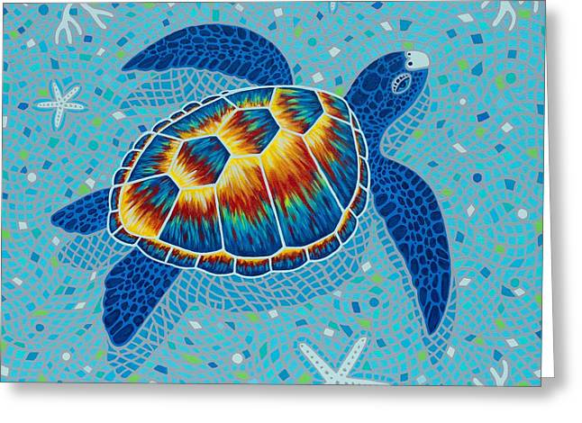 Seastar Paintings Greeting Cards - Mosaic Sea Turtle Greeting Card by Danielle  Perry
