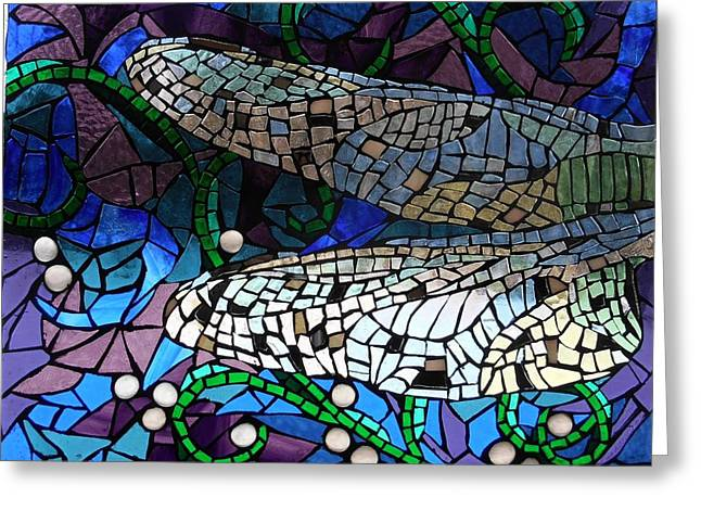 Purples Glass Art Greeting Cards - Mosaic Stained Glass - Dragonfly Wings Greeting Card by Catherine Van Der Woerd