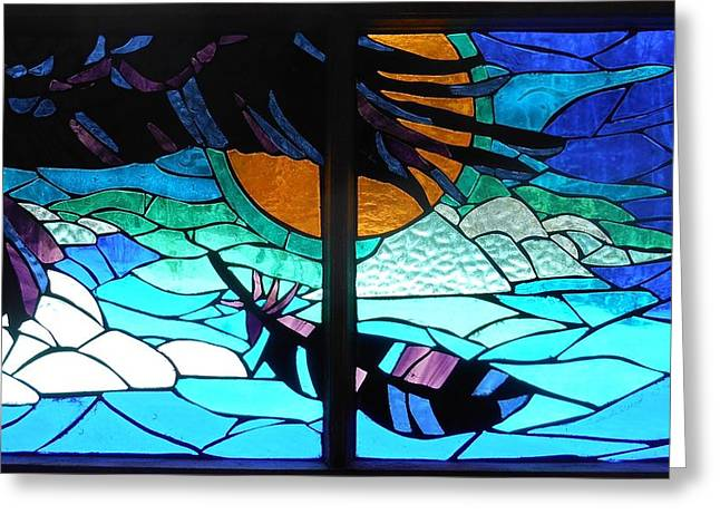 Sky Glass Art Greeting Cards - Mosaic Stained Glass - Raven Greeting Card by Catherine Van Der Woerd
