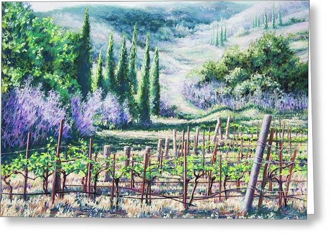 Mountain Valley Pastels Greeting Cards - Mosbys Vines on Santa Rita Hills Greeting Card by Denise Horne-Kaplan