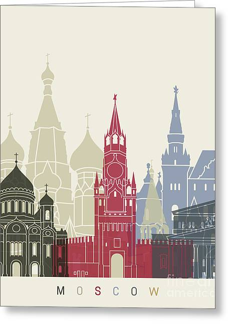 Moscow Skyline Poster Greeting Card by Pablo Romero