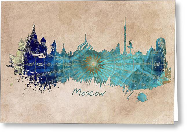 Moscow Skyline Wind Rose Greeting Card by Justyna JBJart