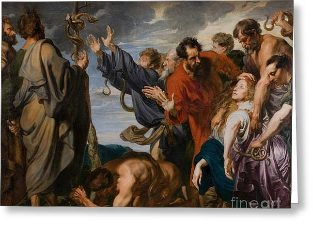 Moses And The Brazen Serpent Greeting Card by Anthony Van Dyck