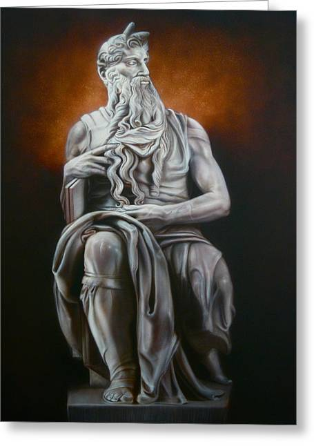 Statue Portrait Paintings Greeting Cards - Moses Greeting Card by Grant Kosh