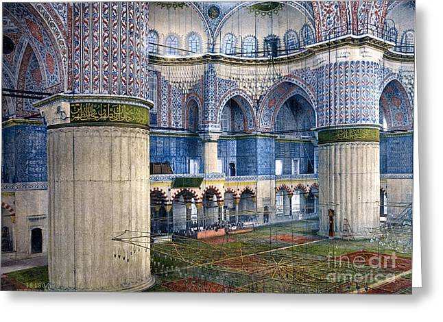 Ahmet Greeting Cards - Mosque of Sultan Ahmet I Greeting Card by Celestial Images