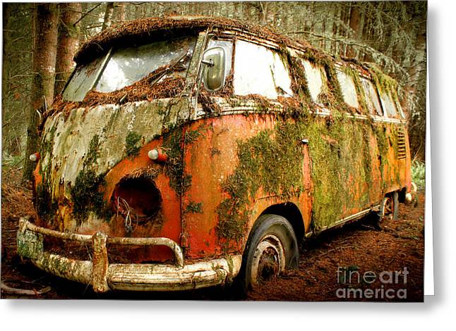 Moss Covered 23 Window Bus Greeting Card by Michael David Sorensen