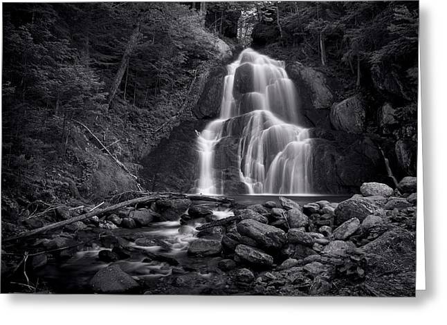 Waterfall Greeting Cards - Moss Glen Falls - Monochrome Greeting Card by Stephen Stookey