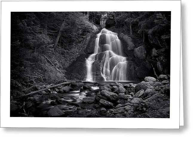 Woods Greeting Cards - Moss Glen Falls - Monochrome Greeting Card by Stephen Stookey