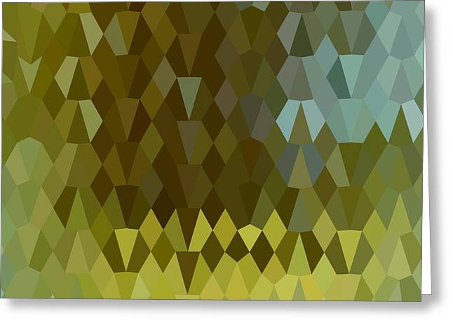 Moss Green Greeting Cards - Moss Green Abstract Low Polygon Background Greeting Card by Aloysius Patrimonio