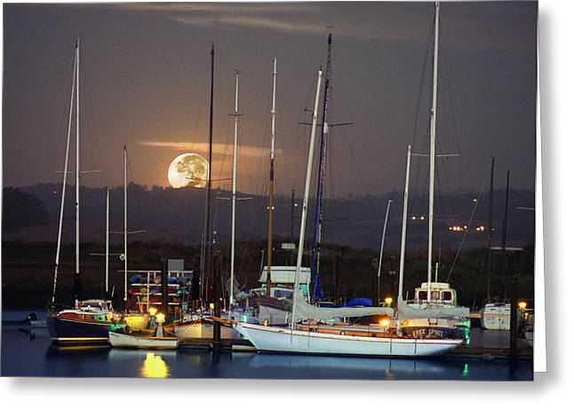 Santa Cruz Sailboat Greeting Cards - Moss Landing Moonrise Greeting Card by Roger Lyon
