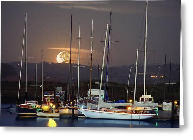 Moss Landing Boats Greeting Cards - Moss Landing Moonrise Greeting Card by Roger Lyon