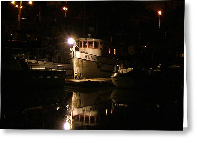 Moss Landing Boats Greeting Cards - Moss Landing night Greeting Card by Nick Diemel