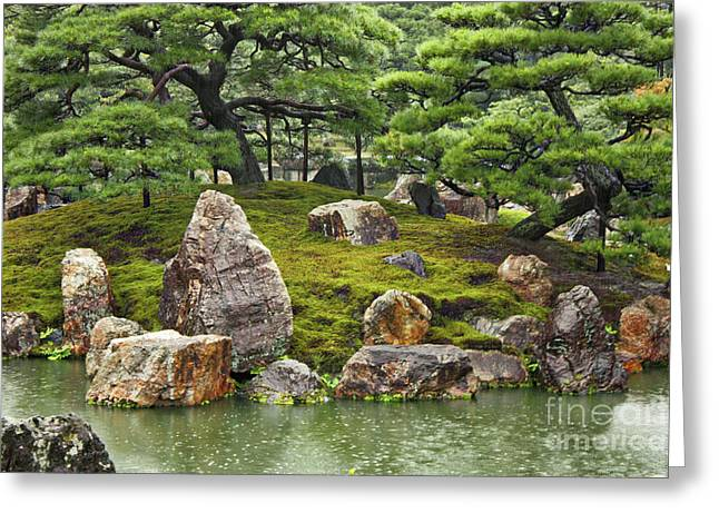 Moss Green Greeting Cards - Mossy Japanese Garden Greeting Card by Carol Groenen
