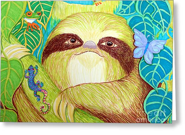 Sloth Greeting Cards - Mossy Sloth Greeting Card by Nick Gustafson