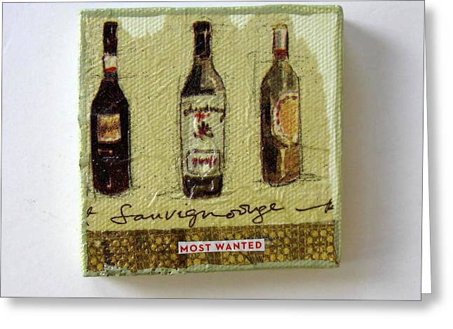 Red Wine Bottle Greeting Cards - Most Wanted Greeting Card by Brooke Baxter Howie