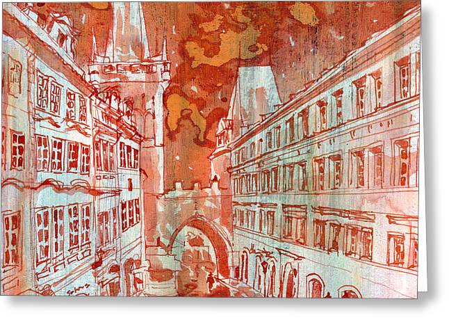 Prague Paintings Greeting Cards - Mostecka Greeting Card by Yevgenia Watts