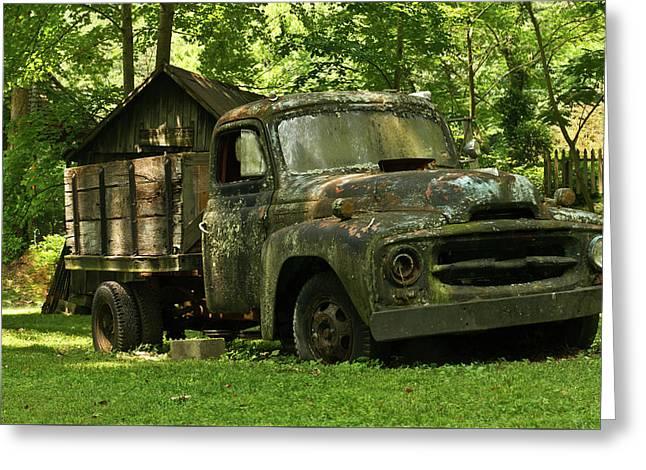 Mosy Green Truck 2 Greeting Card by Douglas Barnett