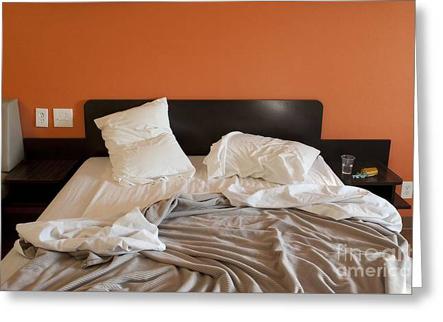 Tablets Greeting Cards - Motel Room and Medications  Greeting Card by Jim Corwin