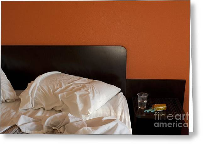 Tablets Greeting Cards - Motel Room with Pills Greeting Card by Jim Corwin