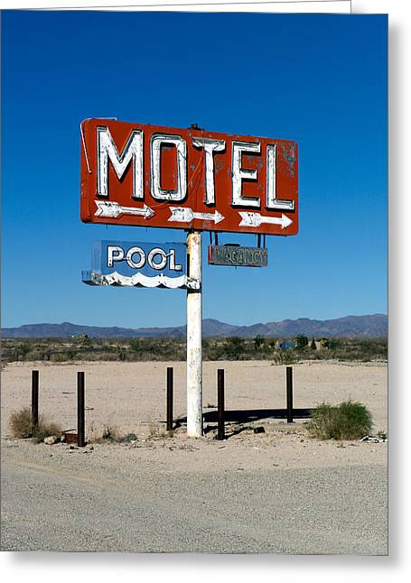 Motel Sign On I-40 And Old Route 66 Greeting Card by Scott Sawyer