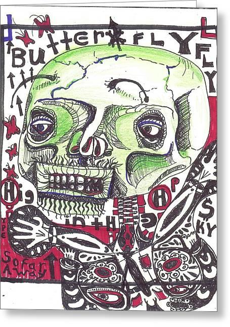 Rwjr Drawings Greeting Cards - Moth Man Greeting Card by Robert Wolverton Jr