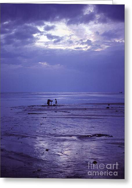 Surf Silhouette Greeting Cards - Mother and Child at Dusk on Koh Phangan  Greeting Card by Anna Lisa Yoder