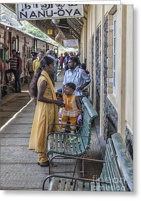Mother And Child At Train Station In Sri Lana Greeting Card by Patricia Hofmeester