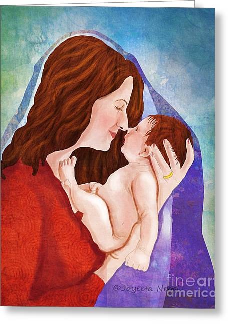 Cocoon Digital Greeting Cards - Mother and child cocoon Greeting Card by Joyeeta Neogi