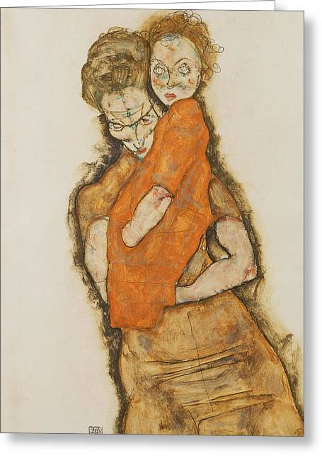 Mother And Child Greeting Card by Egon Schiele