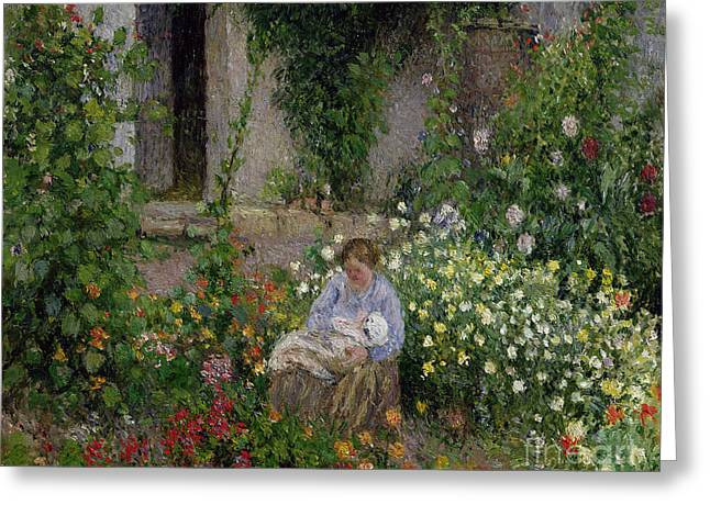 Impressionist Greeting Cards - Mother and Child in the Flowers Greeting Card by Camille Pissarro