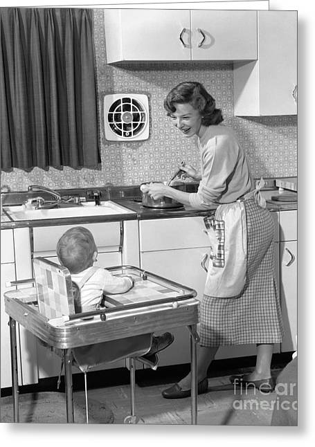 Caring Mother Greeting Cards - Mother And Child In The Kitchen, C.1950s Greeting Card by H. Armstrong Roberts/ClassicStock