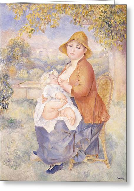 Mother And Child, Maternity Greeting Card by Pierre Auguste Renoir