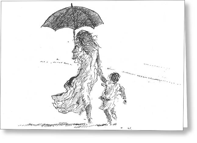 Umbrella Drawings Greeting Cards - Mother and Child  Sri Lanka Greeting Card by Lincoln Seligman