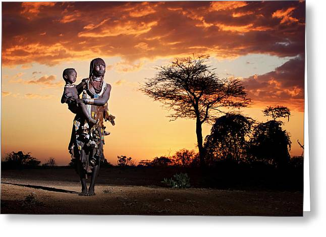 Ethiopia Greeting Cards - Mother And Child Greeting Card by Vedran Vidak