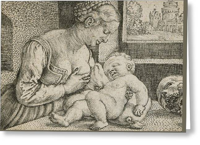 Mother And Child With Skull And Hourglass Greeting Card by Barthel Beham