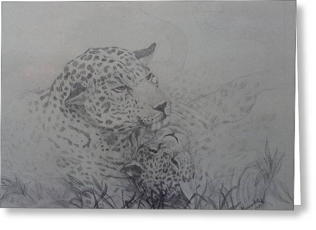 Wild Life Drawings Greeting Cards - Mother and Cub Greeting Card by Nancy Rucker