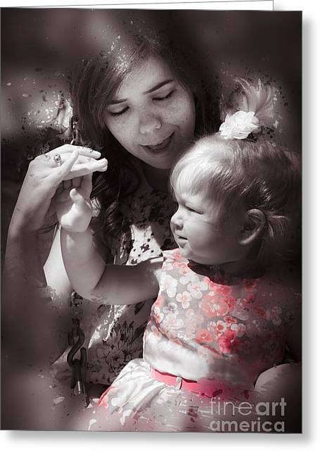 Caring Mother Greeting Cards - Mother and daughter hand in hand Greeting Card by Ryan Jorgensen