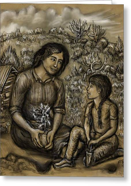 Mountain Cabin Drawings Greeting Cards - Mother and Daughter in the Garden Greeting Card by Dawn Senior-Trask
