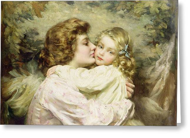 Mothers And Daughters Greeting Cards - Mother and Daughter  Greeting Card by Thomas Benjamin Kennington