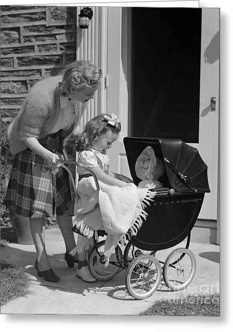 Caring Mother Greeting Cards - Mother And Daughter With Baby Doll Greeting Card by H. Armstrong Roberts/ClassicStock