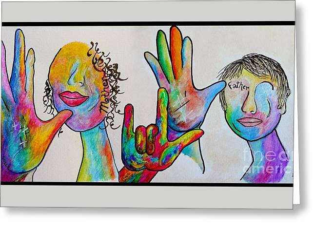 Asl Greeting Cards - Mother and Father I Love You Greeting Card by Eloise Schneider
