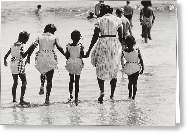 Children At Beach Greeting Cards - Mother and Four Daughters Entering Water at Coney Island Greeting Card by Nat Herz