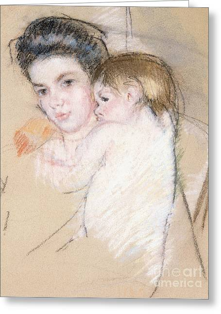 Mother And Nude Child Greeting Card by Mary Stevenson Cassatt
