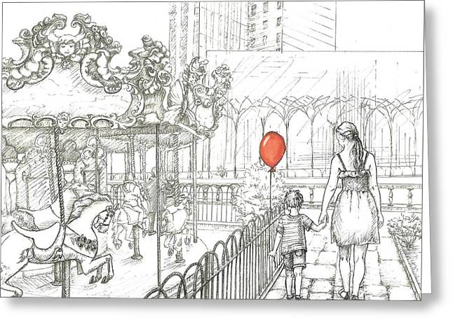 Mother And Son. Bryant Park Carousel, New York. Mother's Day Greeting Card by Anna Giller