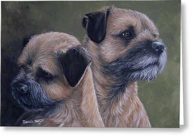 Dog Artists Greeting Cards - Mother and son Greeting Card by Daniele Trottier