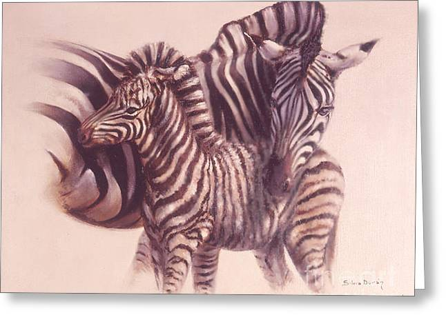 Zebra Colt Greeting Cards - Mother caress Greeting Card by Silvia  Duran